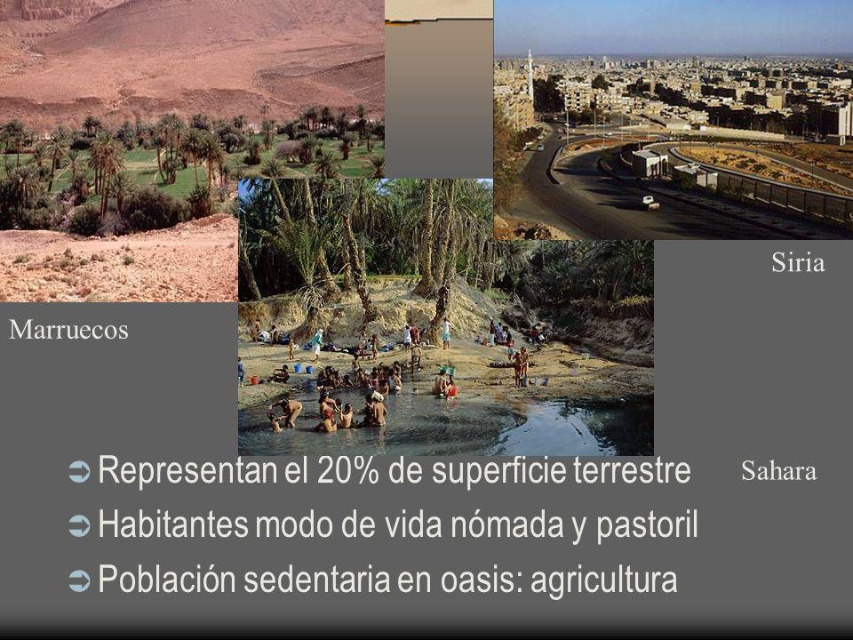 Representan el 20% de superficie terrestre Habitantes modo de vida nómada y pastoril Población sedentaria en oasis: agricultura Marruecos Sahara Siria
