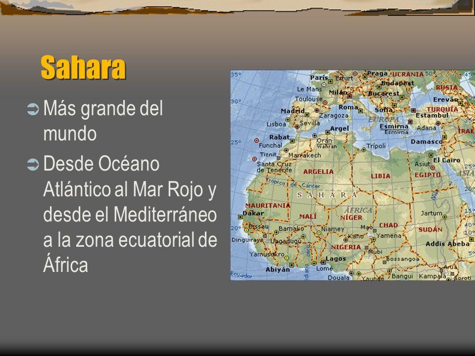 Sahara Más grande del mundo Desde Océano Atlántico al Mar Rojo y desde el Mediterráneo a la zona ecuatorial de África