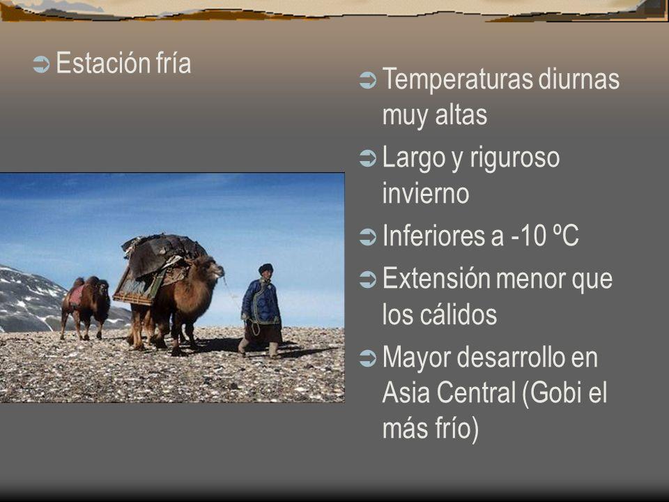 Estación fría Temperaturas diurnas muy altas Largo y riguroso invierno Inferiores a -10 ºC Extensión menor que los cálidos Mayor desarrollo en Asia Ce