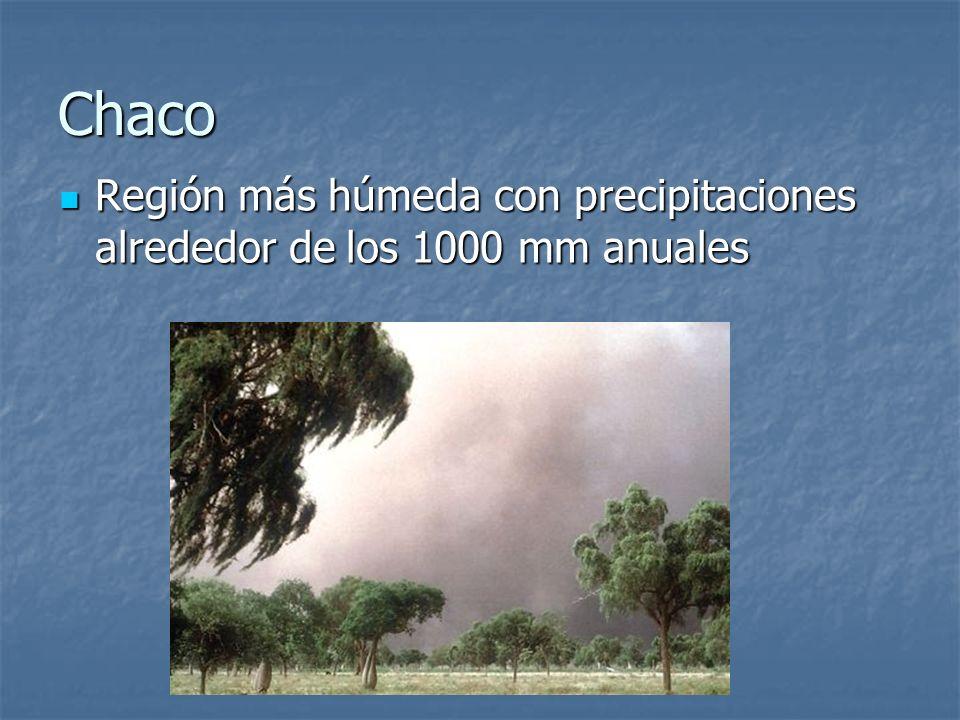 Chaco Región más húmeda con precipitaciones alrededor de los 1000 mm anuales Región más húmeda con precipitaciones alrededor de los 1000 mm anuales