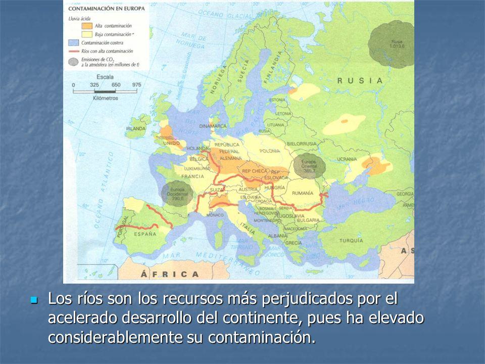 Los ríos son los recursos más perjudicados por el acelerado desarrollo del continente, pues ha elevado considerablemente su contaminación. Los ríos so