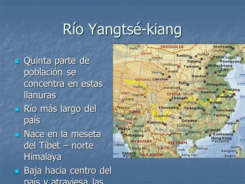 Río Yangtsé-kiang Quinta parte de población se concentra en estas llanuras Quinta parte de población se concentra en estas llanuras Río más largo del
