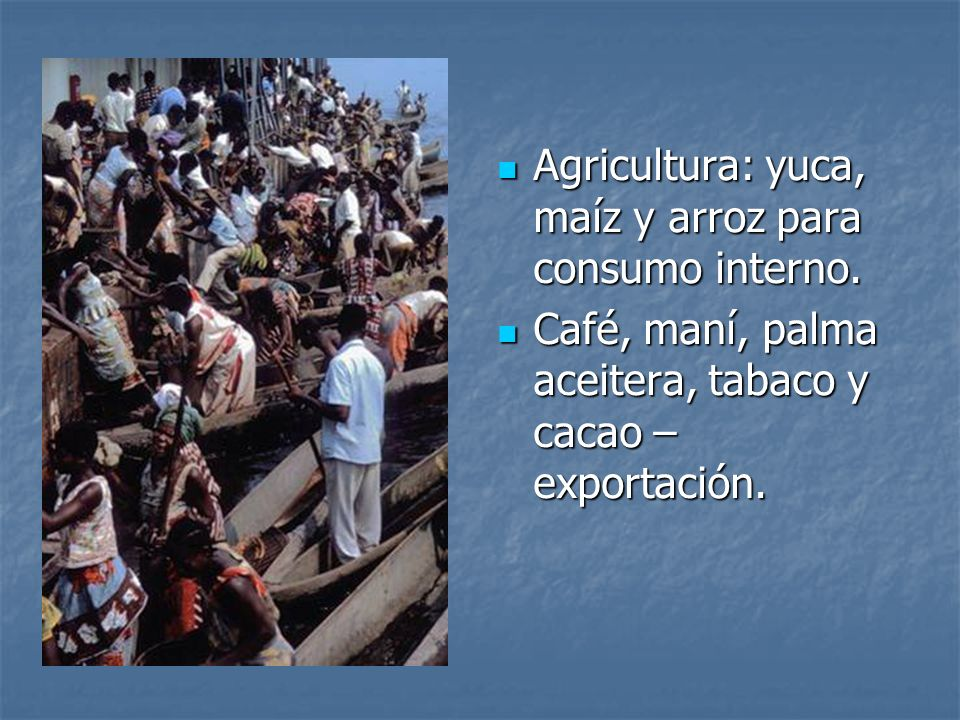 Agricultura: yuca, maíz y arroz para consumo interno. Agricultura: yuca, maíz y arroz para consumo interno. Café, maní, palma aceitera, tabaco y cacao