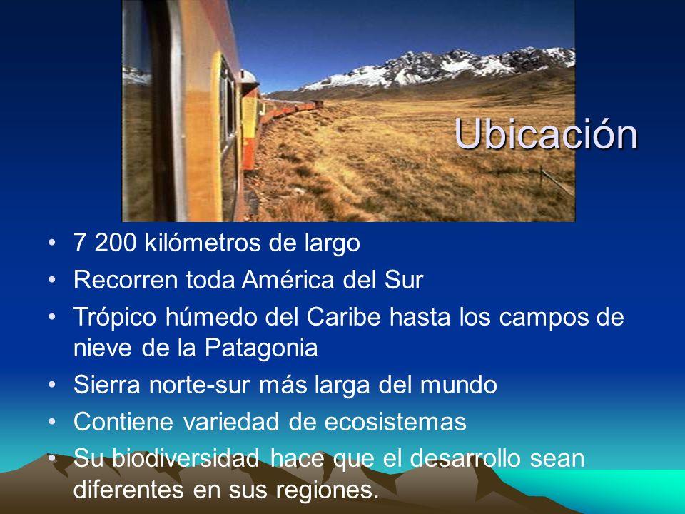 7 200 kilómetros de largo Recorren toda América del Sur Trópico húmedo del Caribe hasta los campos de nieve de la Patagonia Sierra norte-sur más larga