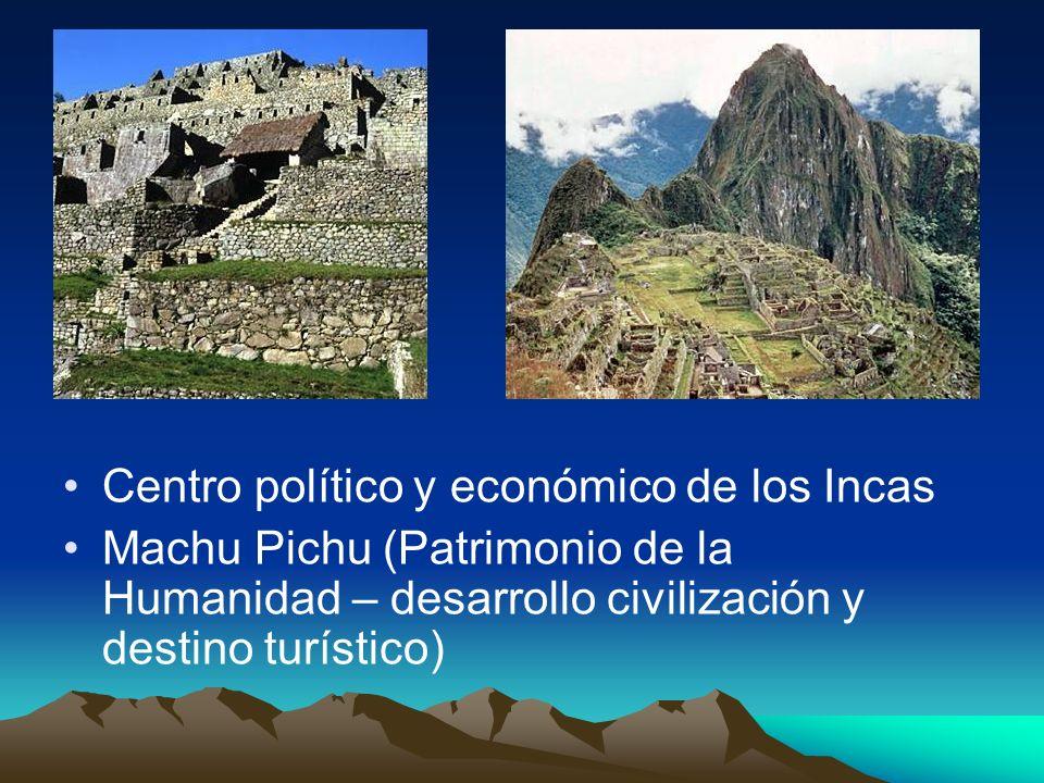 Centro político y económico de los Incas Machu Pichu (Patrimonio de la Humanidad – desarrollo civilización y destino turístico)