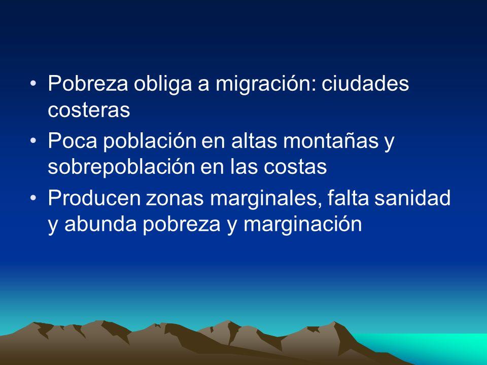 Pobreza obliga a migración: ciudades costeras Poca población en altas montañas y sobrepoblación en las costas Producen zonas marginales, falta sanidad