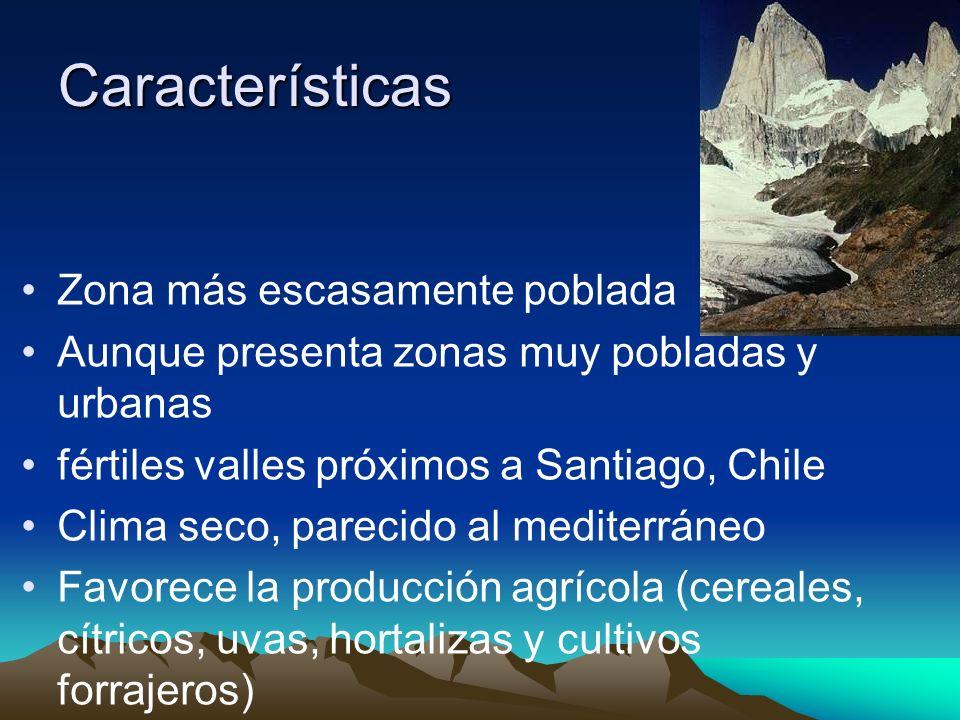 Características Zona más escasamente poblada Aunque presenta zonas muy pobladas y urbanas fértiles valles próximos a Santiago, Chile Clima seco, parec