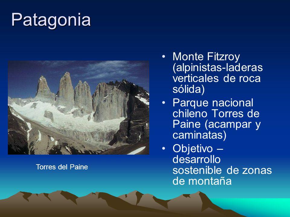 Patagonia Monte Fitzroy (alpinistas-laderas verticales de roca sólida) Parque nacional chileno Torres de Paine (acampar y caminatas) Objetivo – desarr