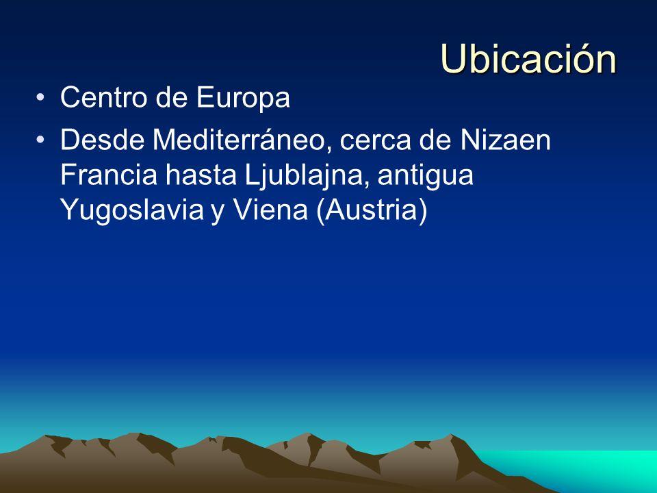 Ubicación Centro de Europa Desde Mediterráneo, cerca de Nizaen Francia hasta Ljublajna, antigua Yugoslavia y Viena (Austria)