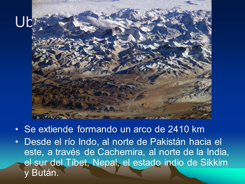Ubicación Se extiende formando un arco de 2410 km Desde el río Indo, al norte de Pakistán hacia el este, a través de Cachemira, al norte de la India,