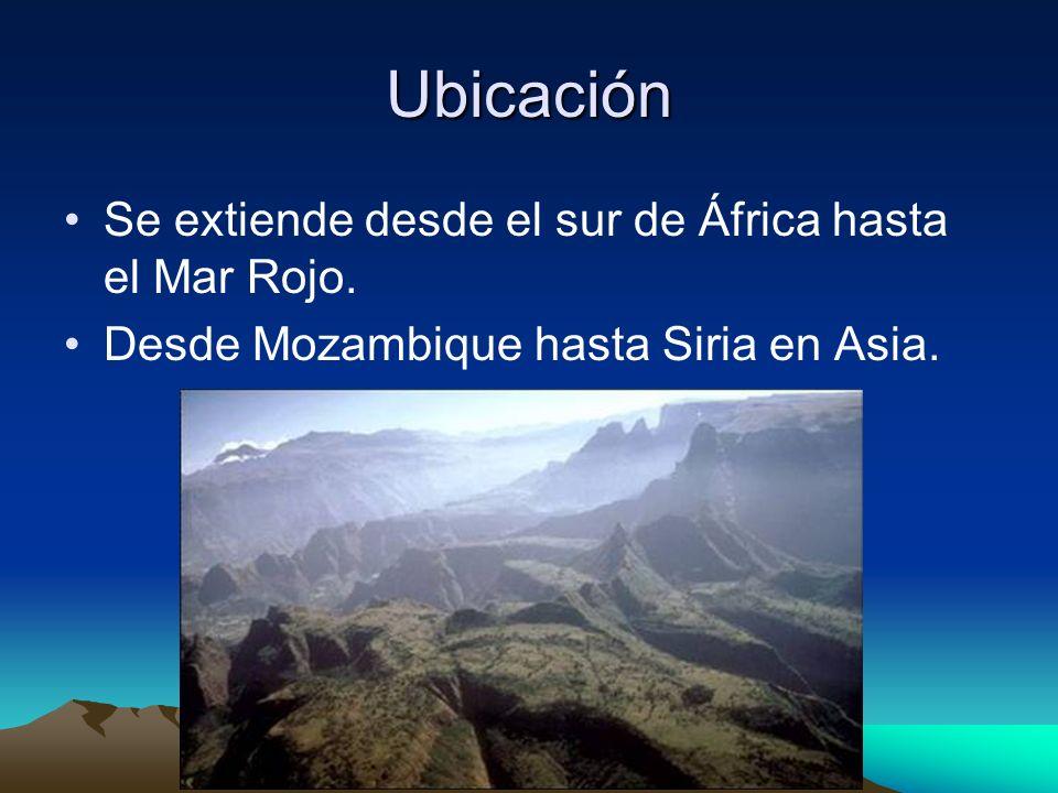 Ubicación Se extiende desde el sur de África hasta el Mar Rojo. Desde Mozambique hasta Siria en Asia.