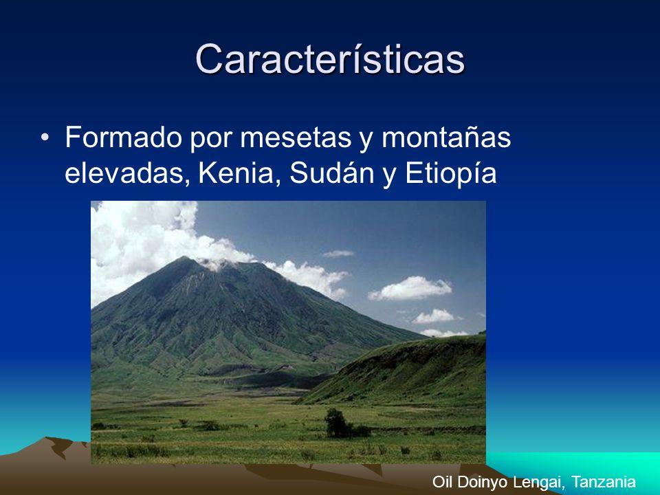 Características Formado por mesetas y montañas elevadas, Kenia, Sudán y Etiopía Oil Doinyo Lengai, Tanzania