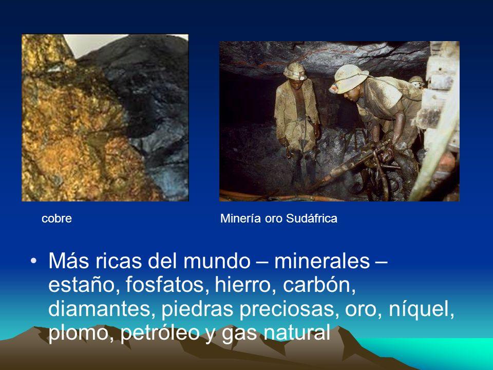 Más ricas del mundo – minerales – estaño, fosfatos, hierro, carbón, diamantes, piedras preciosas, oro, níquel, plomo, petróleo y gas natural cobreMine