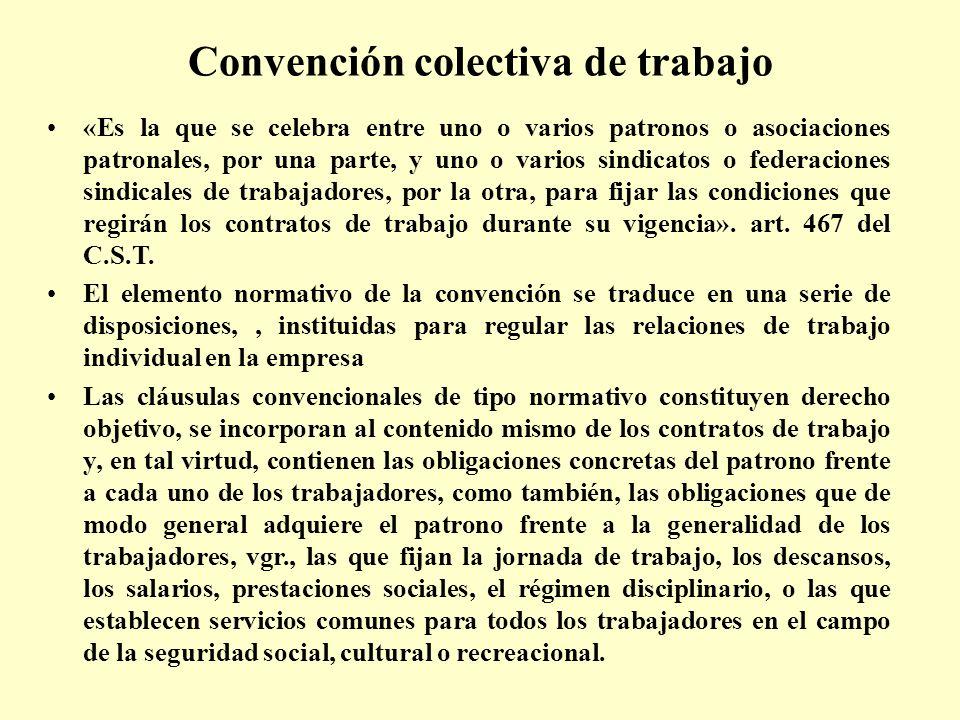 Convención colectiva de trabajo «Es la que se celebra entre uno o varios patronos o asociaciones patronales, por una parte, y uno o varios sindicatos