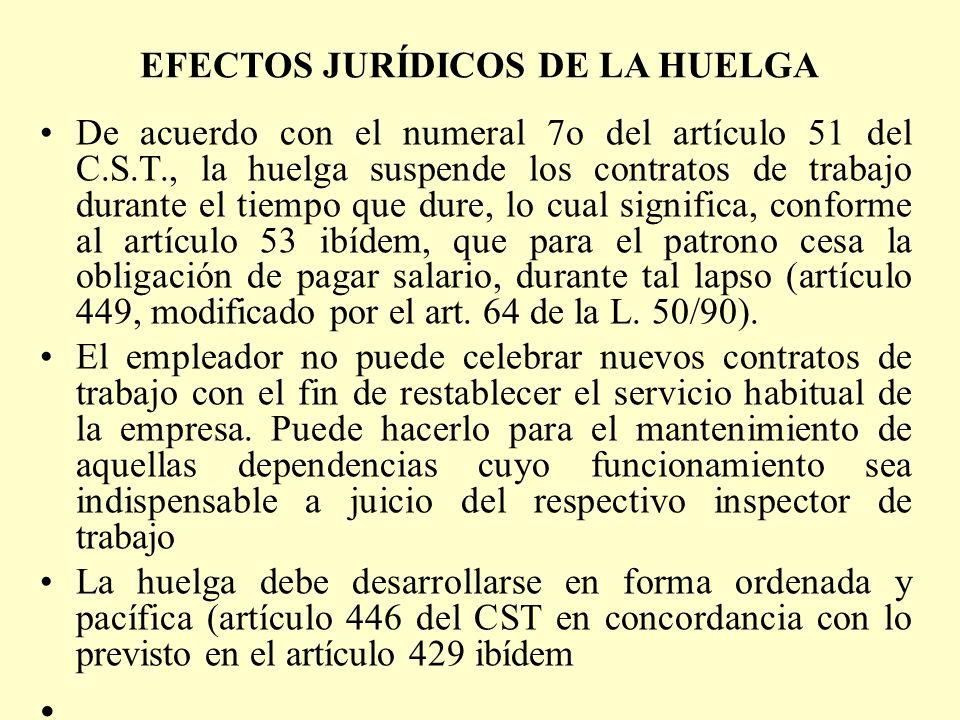 EFECTOS JURÍDICOS DE LA HUELGA De acuerdo con el numeral 7o del artículo 51 del C.S.T., la huelga suspende los contratos de trabajo durante el tiempo