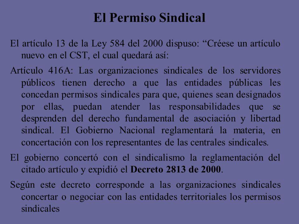 El Permiso Sindical El artículo 13 de la Ley 584 del 2000 dispuso: Créese un artículo nuevo en el CST, el cual quedará así: Artículo 416A: Las organiz