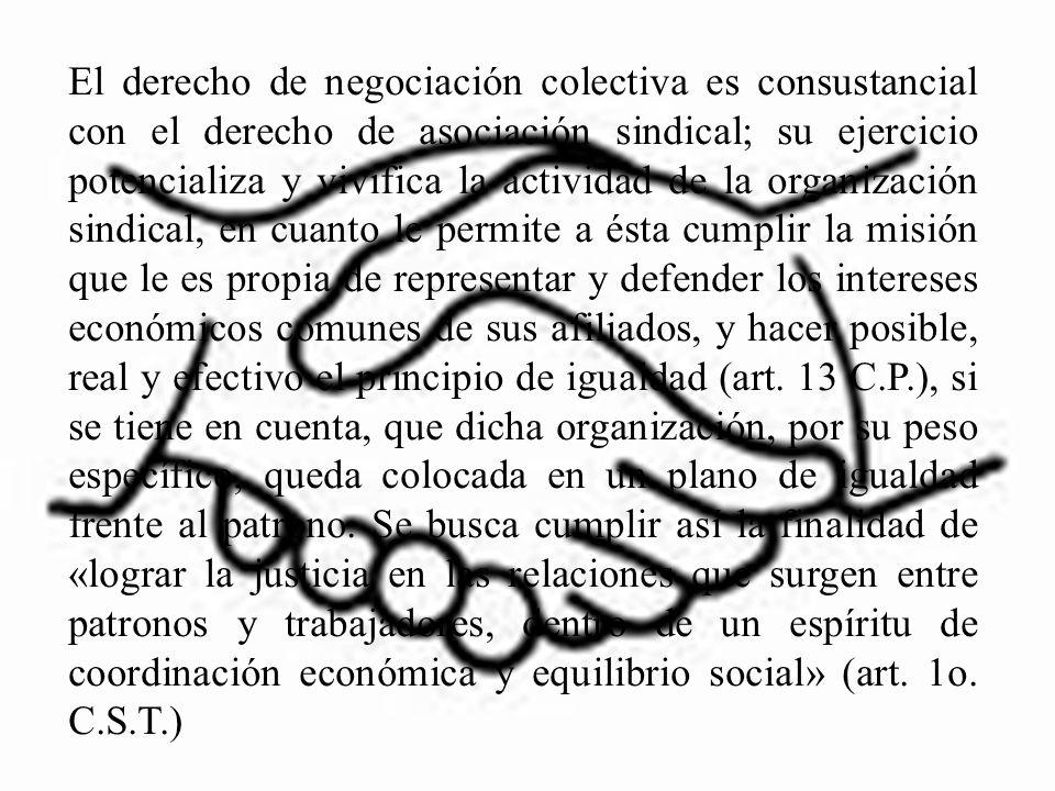 El derecho de negociación colectiva es consustancial con el derecho de asociación sindical; su ejercicio potencializa y vivifica la actividad de la or