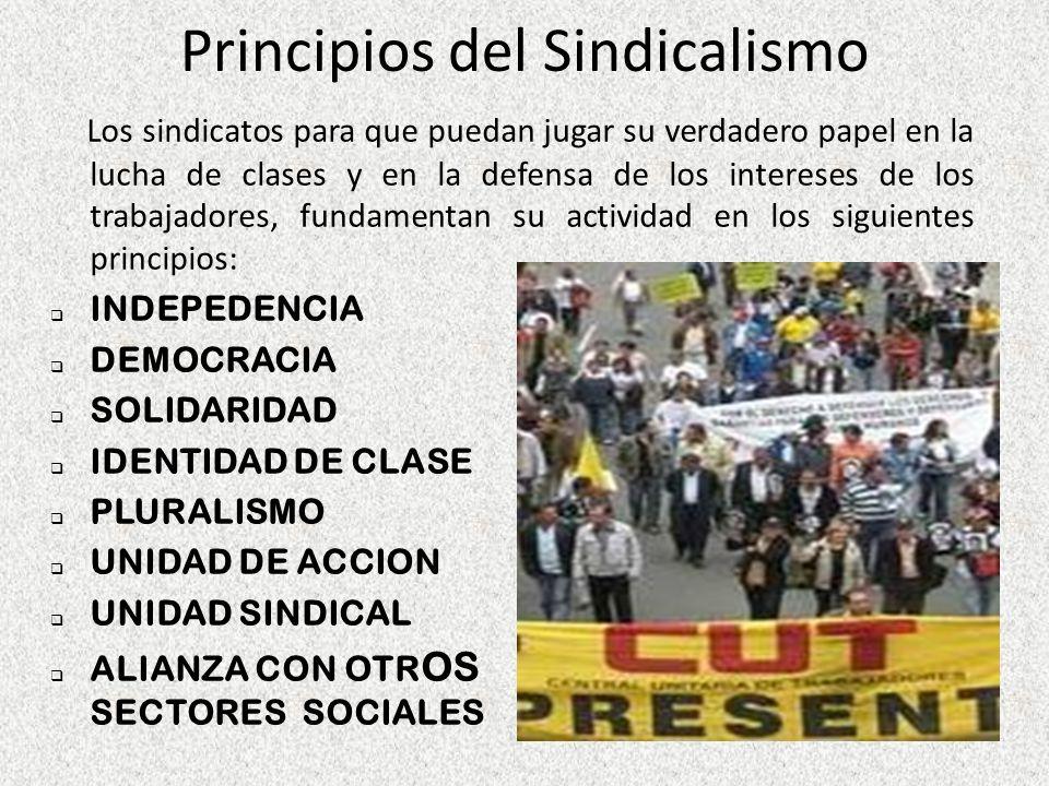 Principios del Sindicalismo Los sindicatos para que puedan jugar su verdadero papel en la lucha de clases y en la defensa de los intereses de los trab