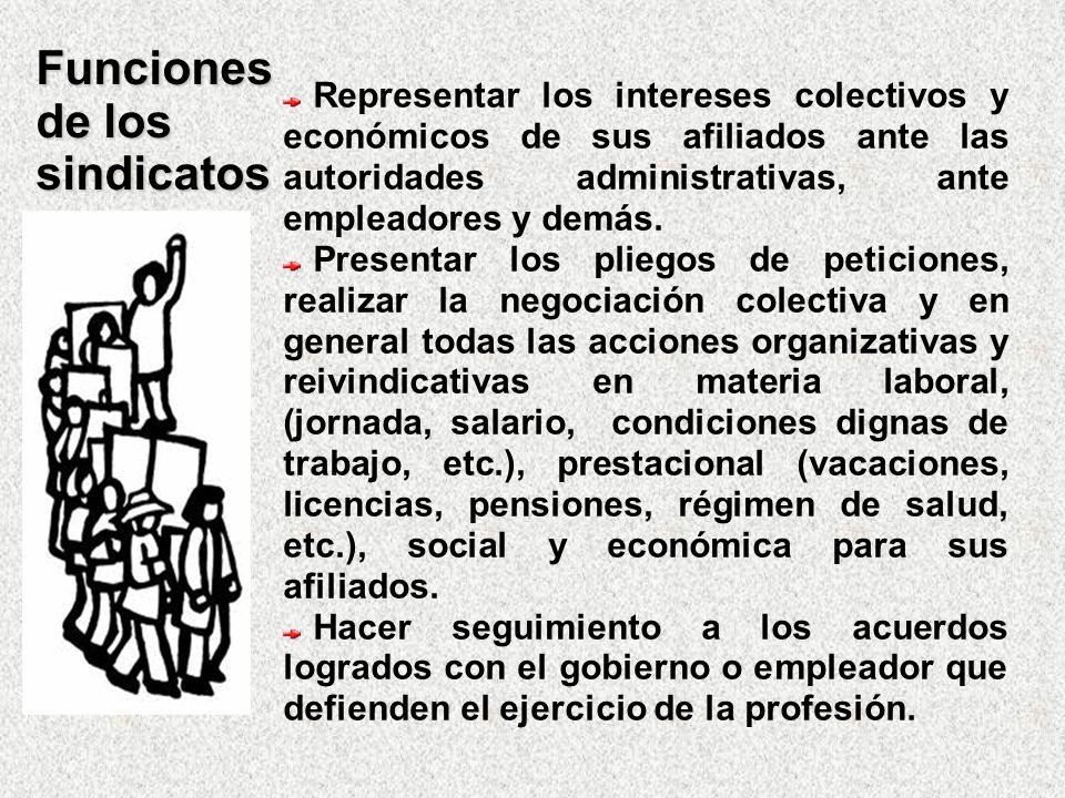 Funciones de los sindicatos Representar los intereses colectivos y económicos de sus afiliados ante las autoridades administrativas, ante empleadores