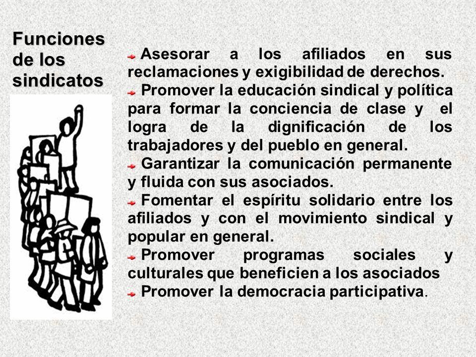 Funciones de los sindicatos Asesorar a los afiliados en sus reclamaciones y exigibilidad de derechos. Promover la educación sindical y política para f
