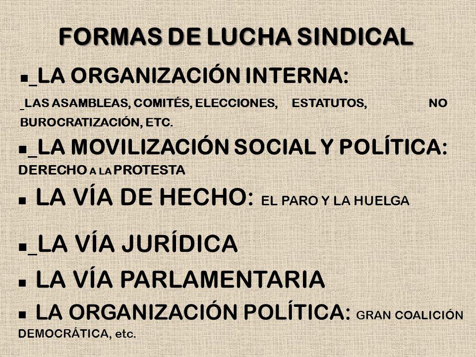 FORMAS DE LUCHA SINDICAL LA MOVILIZACIÓN SOCIAL Y POLÍTICA: DERECHO A LA PROTESTA LA ORGANIZACIÓN INTERNA: LAS ASAMBLEAS, COMITÉS, ELECCIONES, ESTATUT