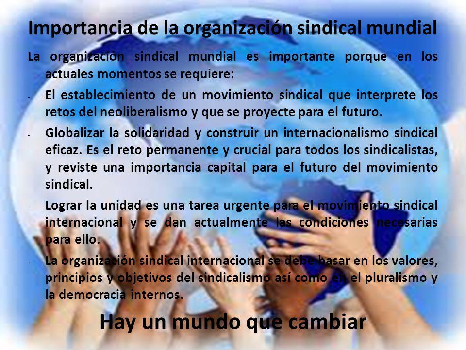 Importancia de la organización sindical mundial La organización sindical mundial es importante porque en los actuales momentos se requiere: - El estab
