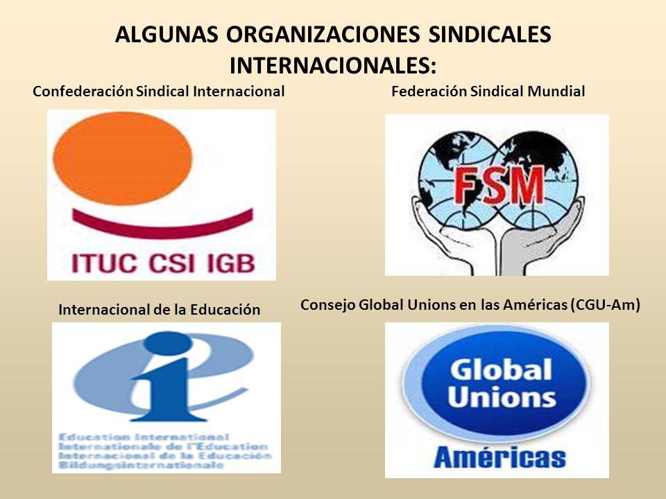 ALGUNAS ORGANIZACIONES SINDICALES INTERNACIONALES: Confederación Sindical InternacionalFederación Sindical Mundial Internacional de la Educación Conse