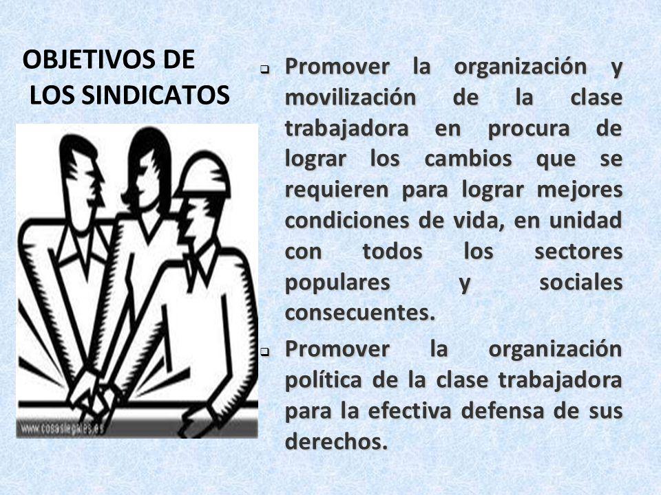 OBJETIVOS DE LOS SINDICATOS Promover la organización y movilización de la clase trabajadora en procura de lograr los cambios que se requieren para log