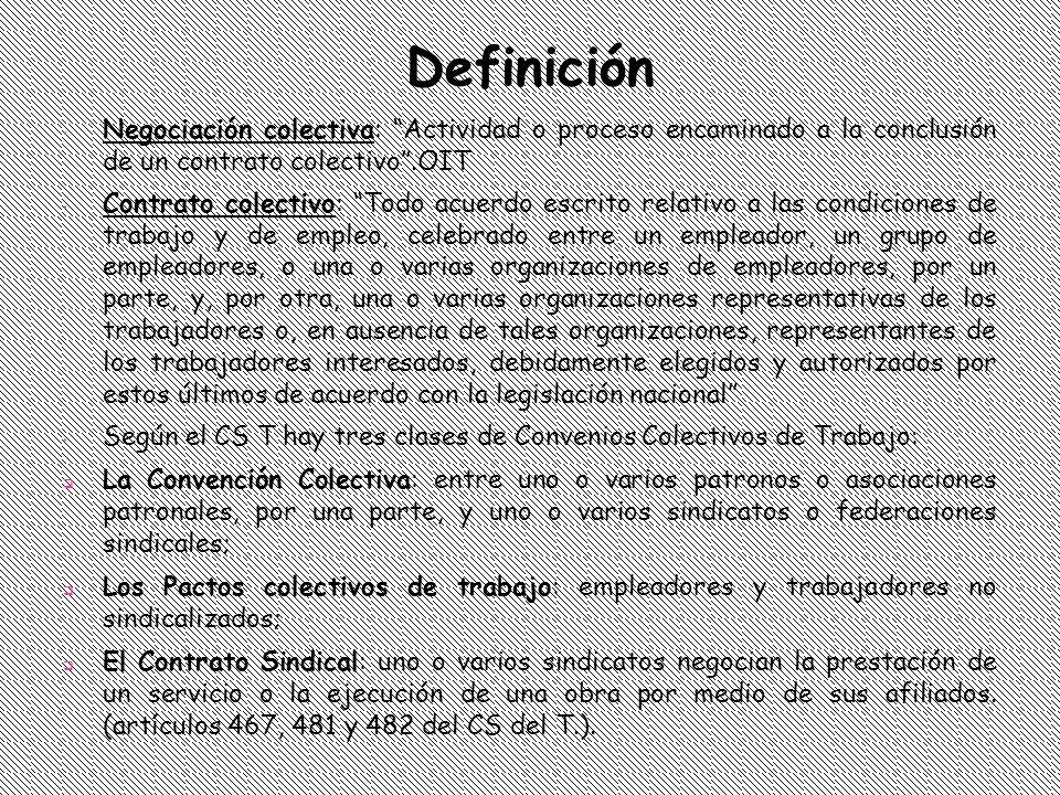 Negociación Colectiva En nuestra legislación, el concepto de negociación colectiva tiene una connotación amplia pues hace referencia a: El surgimiento de un conflicto colectivo de trabajo y la correspondiente iniciación de conversaciones, El agotamiento de la etapa de arreglo directo –arts.