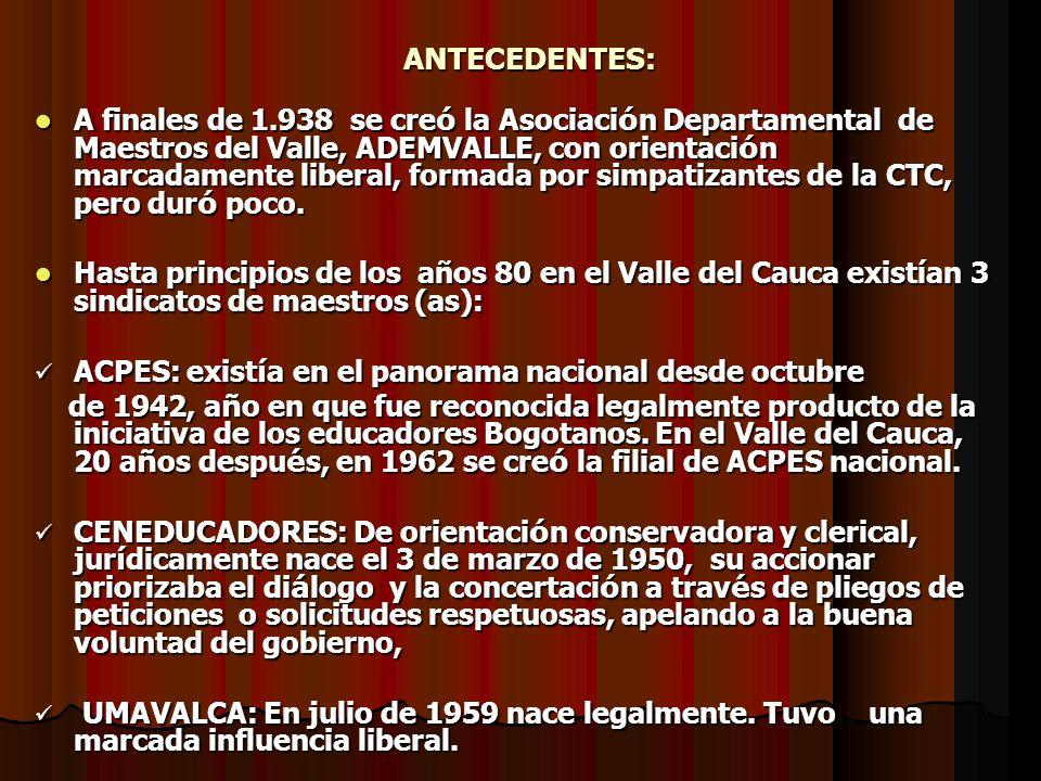 ANTECEDENTES: ANTECEDENTES: A finales de 1.938 se cre ó la Asociaci ó n Departamental de Maestros del Valle, ADEMVALLE, con orientaci ó n marcadamente