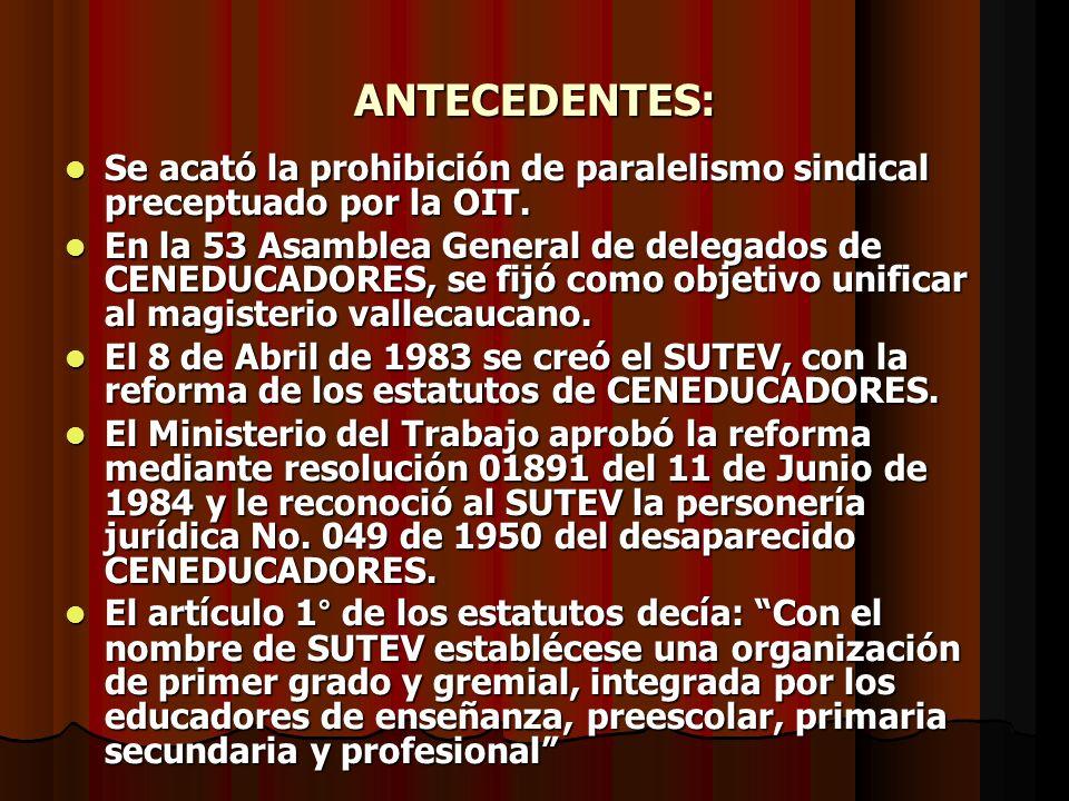 ANTECEDENTES: Se acató la prohibición de paralelismo sindical preceptuado por la OIT. Se acató la prohibición de paralelismo sindical preceptuado por