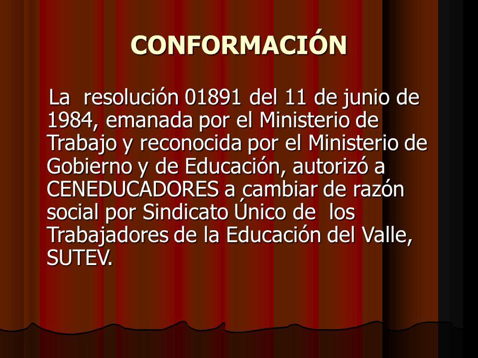CONFORMACIÓN La resolución 01891 del 11 de junio de 1984, emanada por el Ministerio de Trabajo y reconocida por el Ministerio de Gobierno y de Educaci