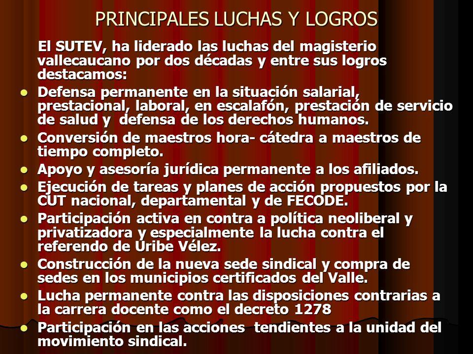 PRINCIPALES LUCHAS Y LOGROS El SUTEV, ha liderado las luchas del magisterio vallecaucano por dos décadas y entre sus logros destacamos: El SUTEV, ha l