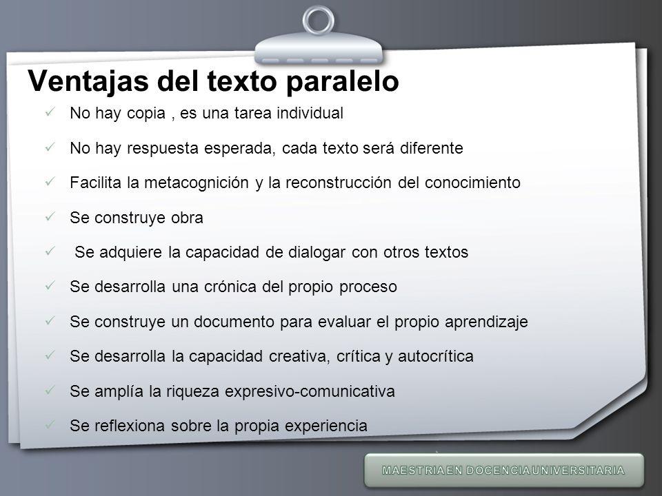 Your Logo Ventajas del texto paralelo No hay copia, es una tarea individual No hay respuesta esperada, cada texto será diferente Facilita la metacogni