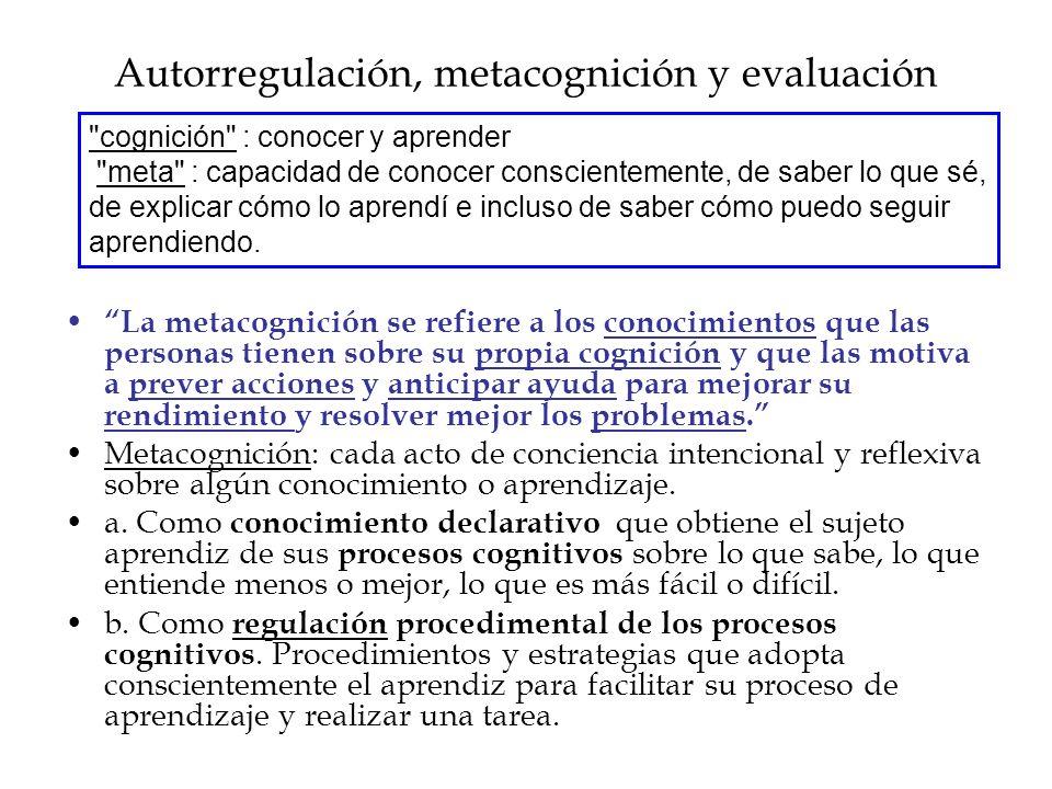 Autorregulación, metacognición y evaluación La metacognición se refiere a los conocimientos que las personas tienen sobre su propia cognición y que las motiva a prever acciones y anticipar ayuda para mejorar su rendimiento y resolver mejor los problemas.