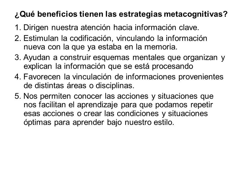 ¿Qué beneficios tienen las estrategias metacognitivas.
