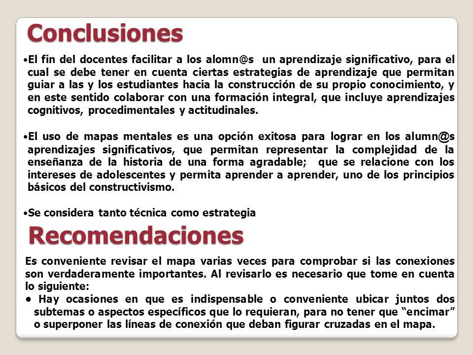 Conclusiones Recomendaciones El fin del docentes facilitar a los alomn@s un aprendizaje significativo, para el cual se debe tener en cuenta ciertas es
