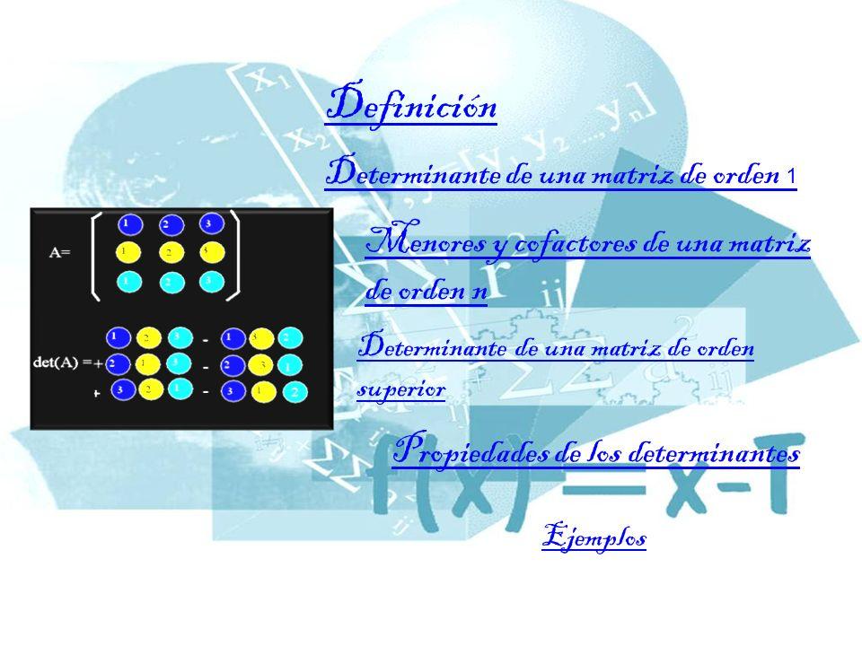 Determinante de una matriz de orden 1 Menores y cofactores de una matriz de orden n Determinante de una matriz de orden superior Propiedades de los determinantes Ejemplos