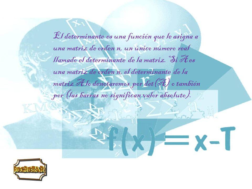 Determinante de una matriz de orden 1 Si es una matriz de orden uno, entonces det(A)=a.