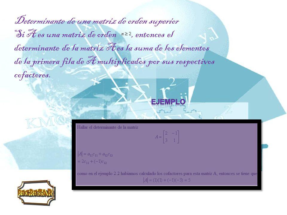 Propiedades de los determinantes Las propiedades que vamos a enunciar son generales para determinantes de cualquier orden.