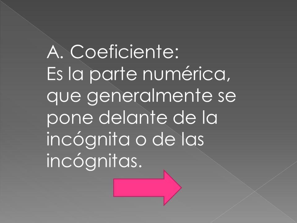A. Coeficiente: Es la parte numérica, que generalmente se pone delante de la incógnita o de las incógnitas.