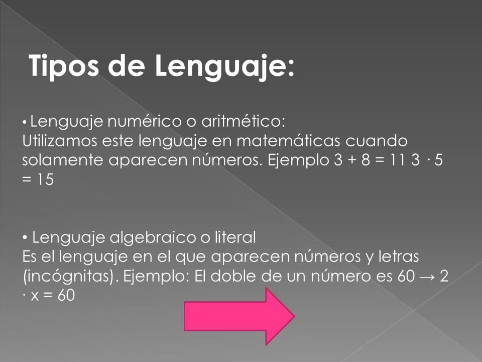 Tipos de Lenguaje: Lenguaje numérico o aritmético: Utilizamos este lenguaje en matemáticas cuando solamente aparecen números. Ejemplo 3 + 8 = 11 3 · 5