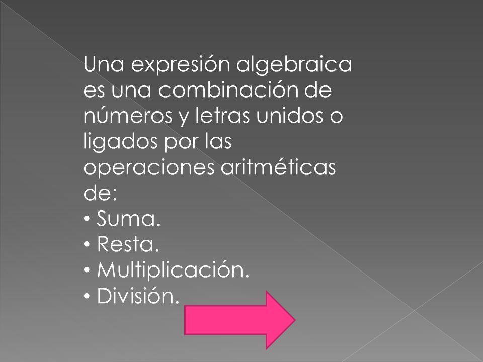 Una expresión algebraica es una combinación de números y letras unidos o ligados por las operaciones aritméticas de: Suma. Resta. Multiplicación. Divi