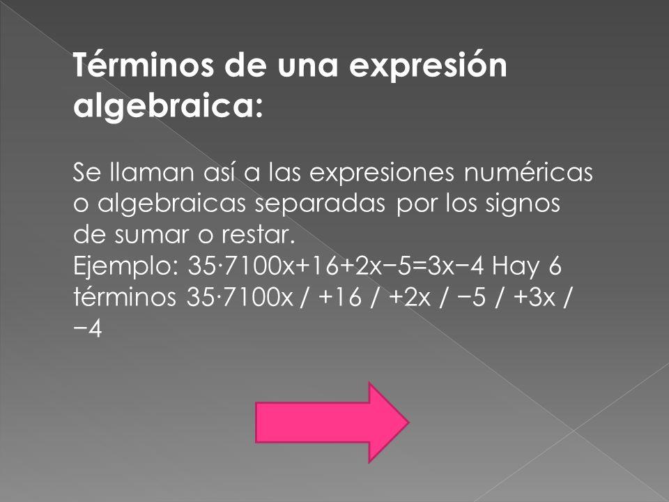 Términos de una expresión algebraica: Se llaman así a las expresiones numéricas o algebraicas separadas por los signos de sumar o restar. Ejemplo: 357