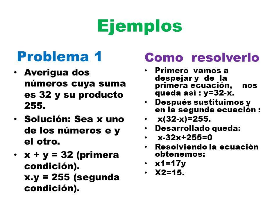 Ejemplos Problema 1 Averigua dos números cuya suma es 32 y su producto 255. Solución: Sea x uno de los números e y el otro. x + y = 32 (primera condic