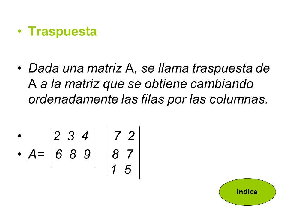 Opuesta La matriz opuesta de una dada es la que resulta de sustituir cada elemento por su opuesto.