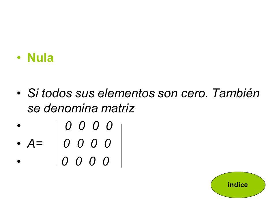Simétrica Es una matriz cuadrada que es igual a su traspuesta.