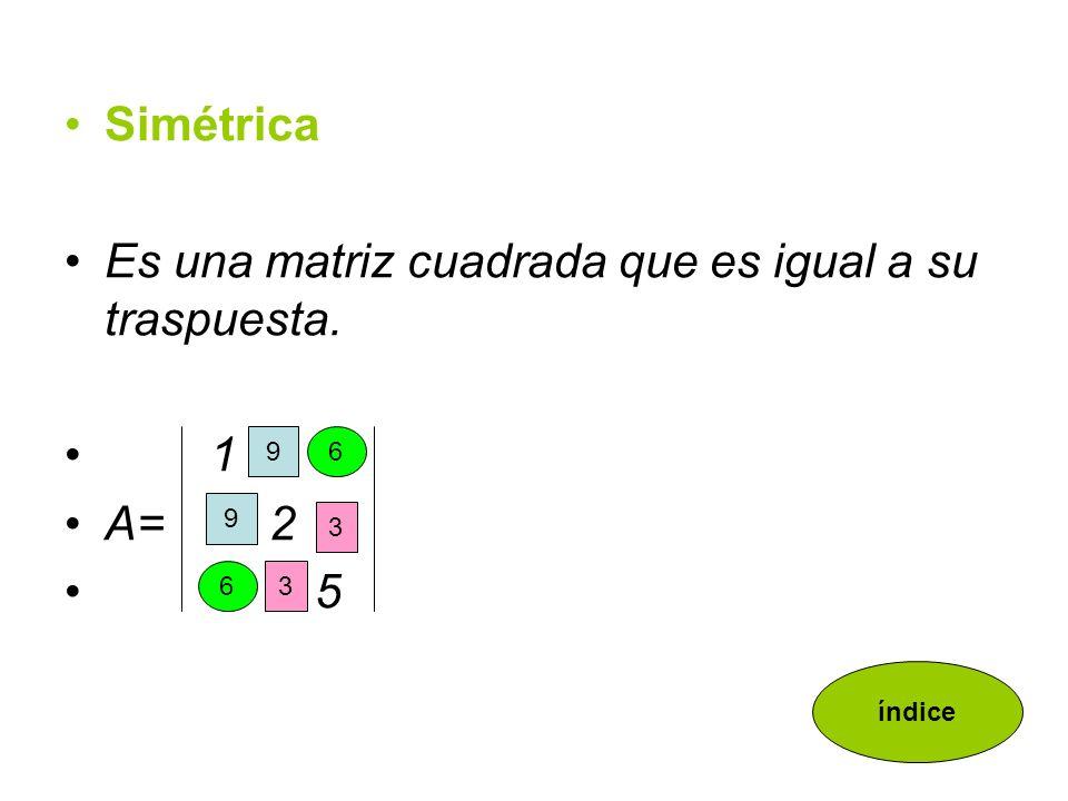 Diagonal Es una matriz cuadrada que tiene todos sus elementos nulos excepto los de la diagonal principal 6 0 0 A= 0 2 0 0 0 3 índice