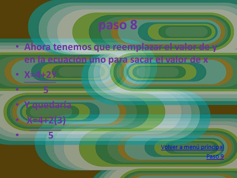 paso 8 Ahora tenemos que reemplazar el valor de y en la ecuación uno para sacar el valor de x X=4+2Y 5 Y quedaría X=4+2(3) 5 Volver a menú principal P