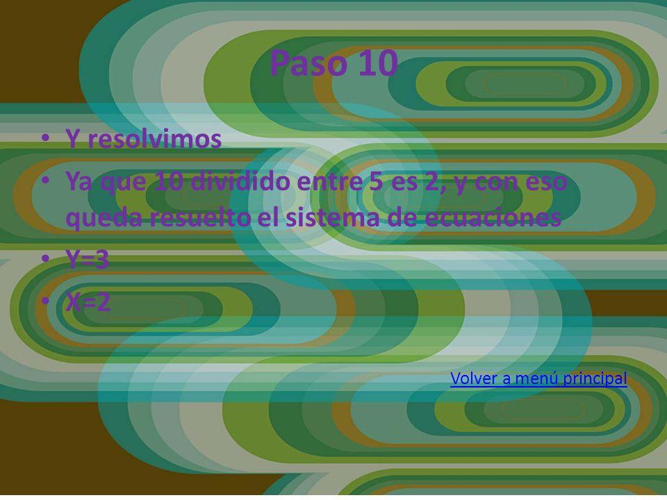 Y resolvimos Ya que 10 dividido entre 5 es 2, y con eso queda resuelto el sistema de ecuaciones Y=3 X=2 Volver a menú principal